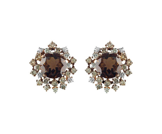 DAMIANI - Pink gold and brown diamonds earrings with fumé quartzs