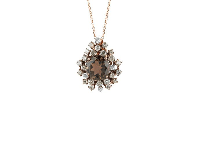 DAMIANI - Pink gold with brown diamonds and fumé quartz necklace/brooch