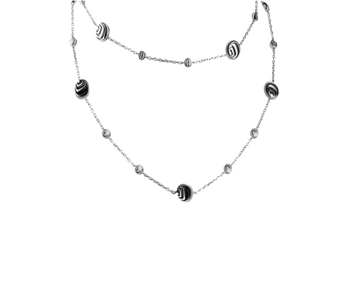 Damiani - Silver with diamonds and onyx necklace