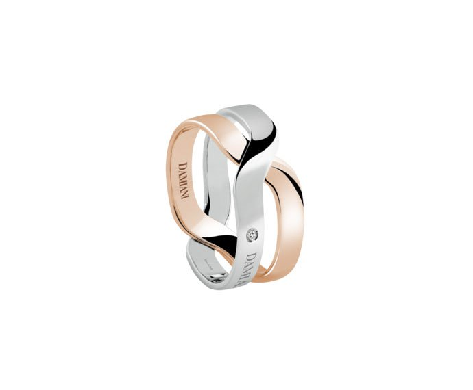 - White gold and pink gold ring