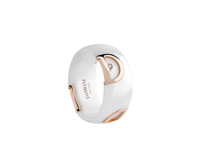 Damiani - White ceramic and pink gold with diamond ring