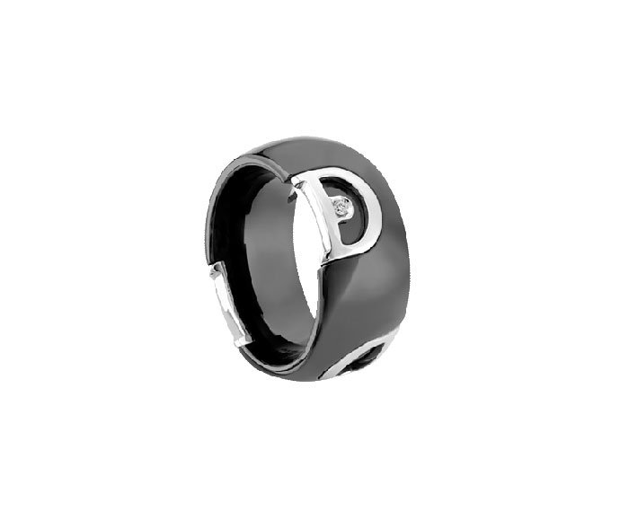 DAMIANI - Black ceramic and white gold with diamond ring
