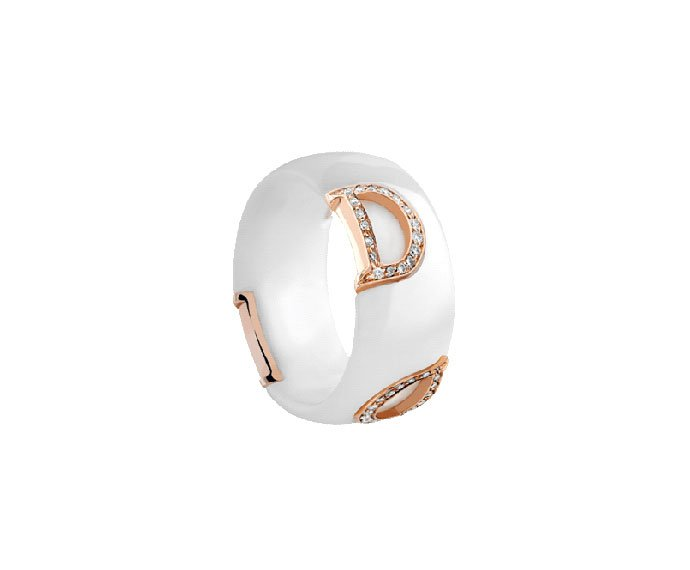 DAMIANI - White ceramic, pink gold and diamonds ring
