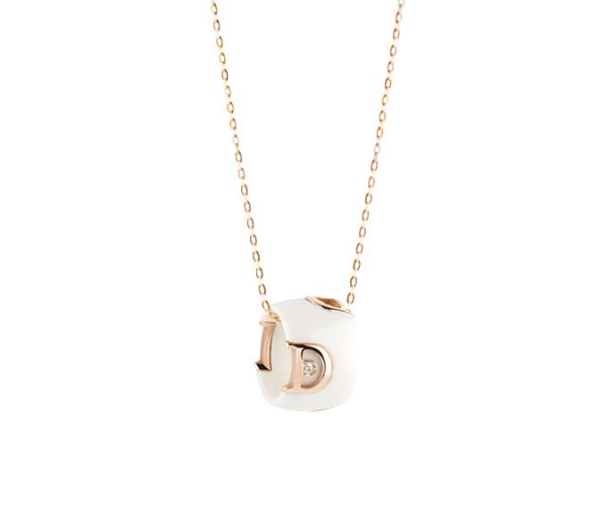 Damiani - White ceramic and pink gold with diamond necklace