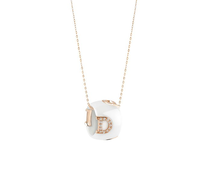 Damiani - White ceramic, pink gold and diamonds necklace