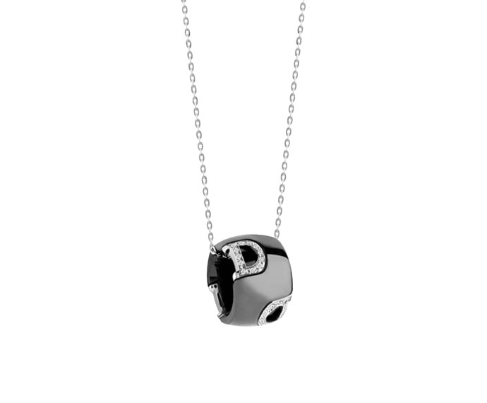 DAMIANI - Black ceramic, white gold and diamonds necklace