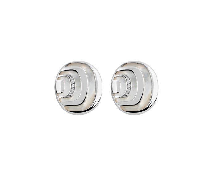 Damiani - Silver with diamonds and mother-of-pearl earrings