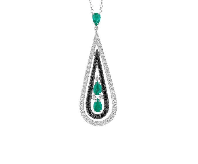 Damiani - White gold, white and black diamonds with emeralds necklace