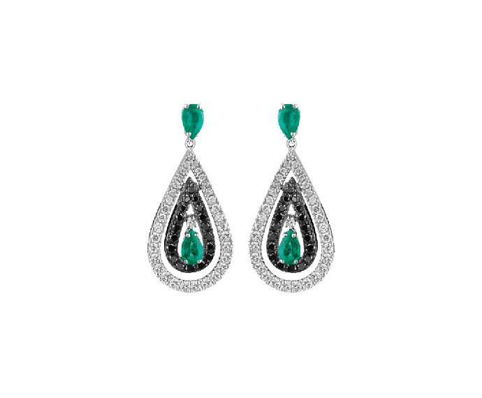 Damiani - White gold with white and black diamonds and emeralds earrings