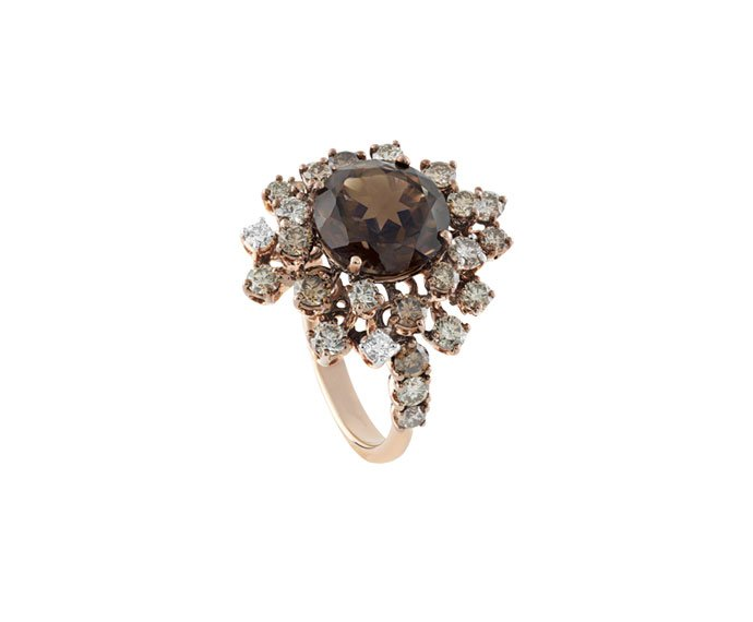 DAMIANI - Pink gold and brown ceramic ring with fumé quartzs