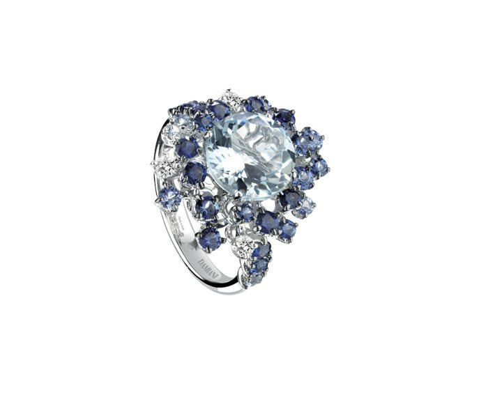 Damiani - White gold with diamonds, light blue sapphires and aquamarine ring