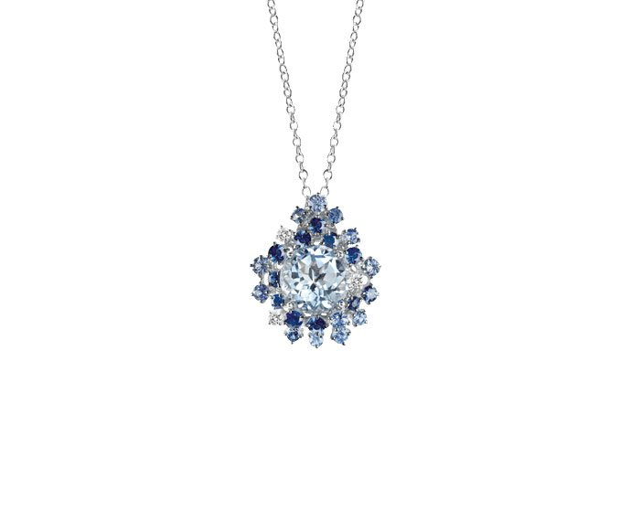 Damiani - White gold with diamonds, light blue sapphires and aquamarine necklace/brooch