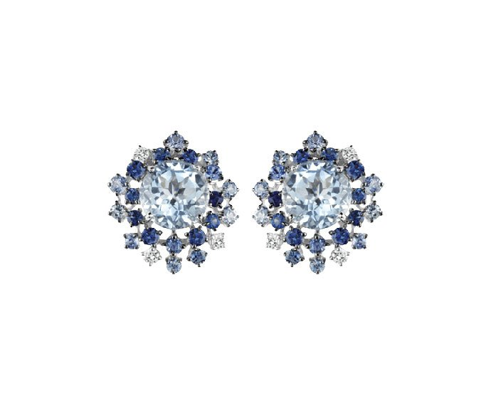 Damiani - White gold with diamonds, light blue sapphires and aquamarine earrings