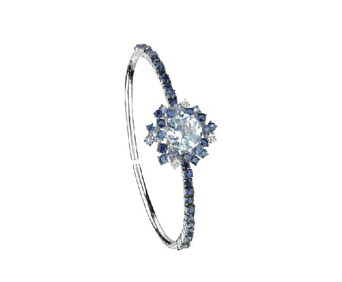 Damiani - White gold with diamonds, light blue sapphires and aquamarine bracelet