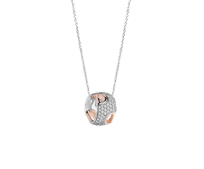 Damiani - White and pink gold with diamonds necklace