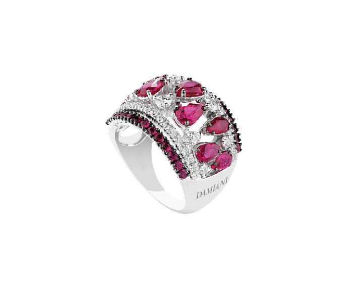 Damiani - White gold, diamonds and rubies ring