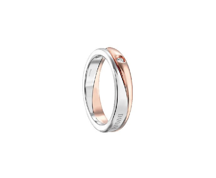 Damiani - White gold and pink gold wedding ring with diamond