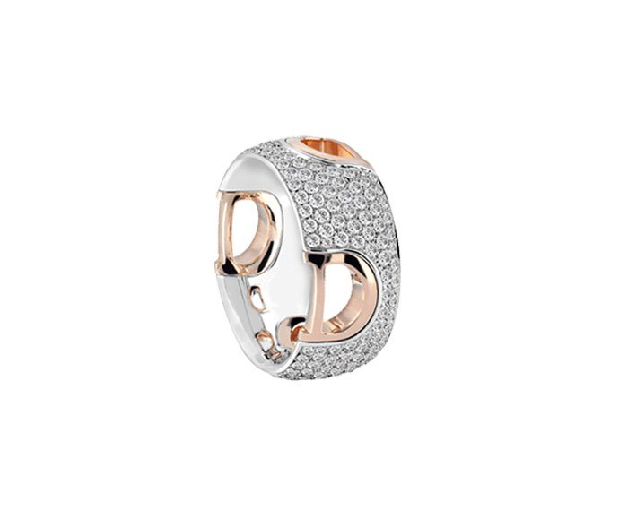 Damiani - Pink gold and white gold with diamonds ring