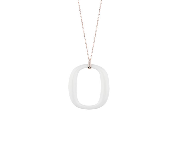 DAMIANI - Pink gold and white agates necklace