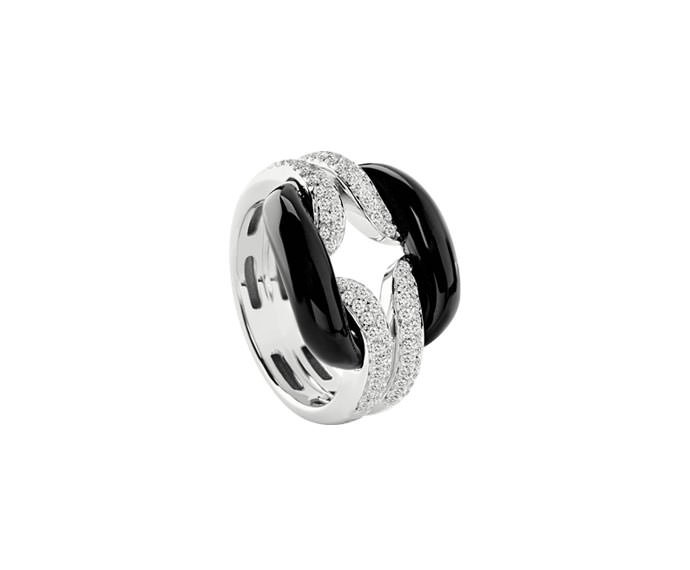 Damiani - White gold and diamonds ring with onyx