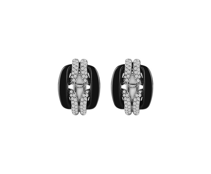 Damiani - White gold and diamonds earrings with onyx