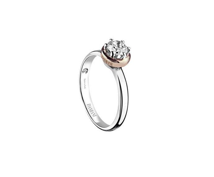 Damiani - White and pink gold or platinum solitaire ring