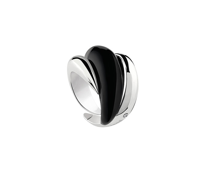 DAMIANI - Silver and diamond ring with black enamel