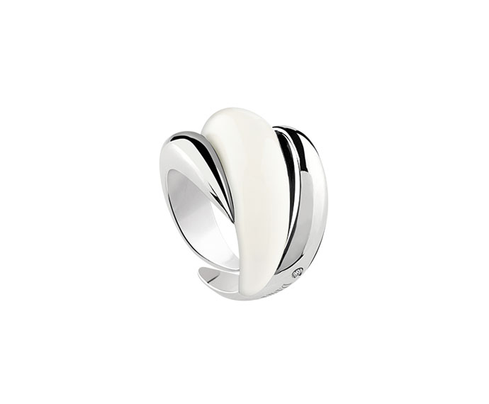DAMIANI - Silver and diamond ring with ivory enamel