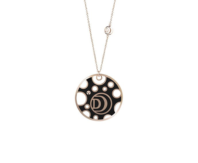 Damiani - Pink gold, diamond and white/black ceramic necklace