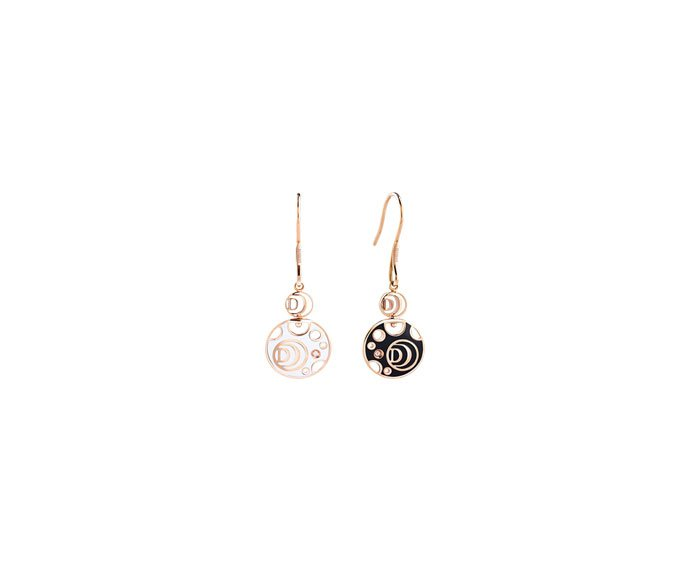 Damiani - Pink gold , diamonds, white and black ceramic earrings