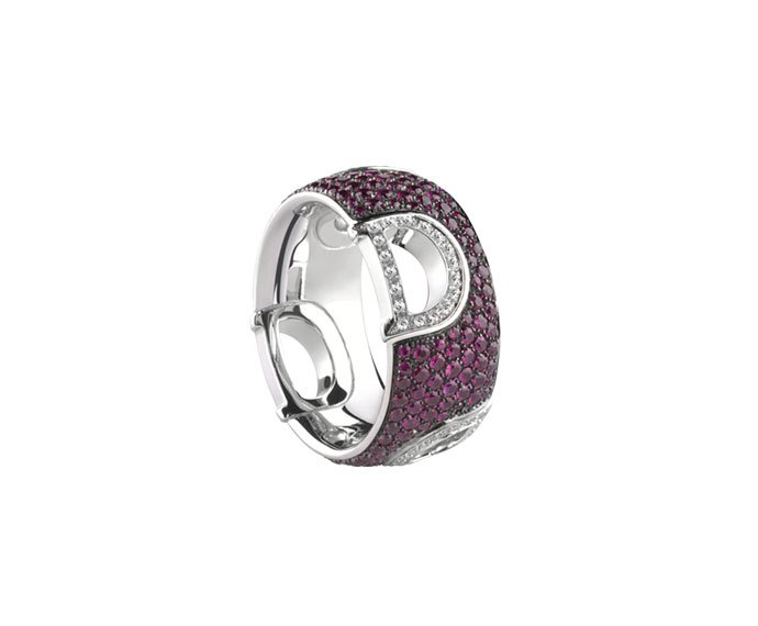 Damiani - White gold and diamonds ring with rubies