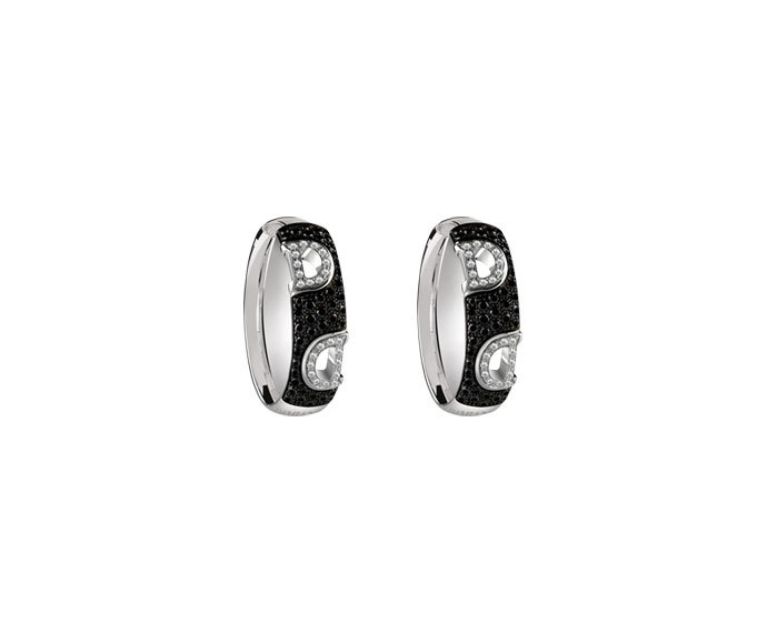 Damiani - White gold with white and black diamonds earrings