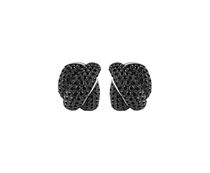 Damiani - Burnished gold and black diamonds earrings