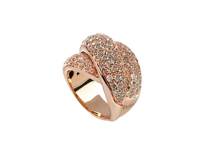Damiani - Pink gold and brown diamonds ring