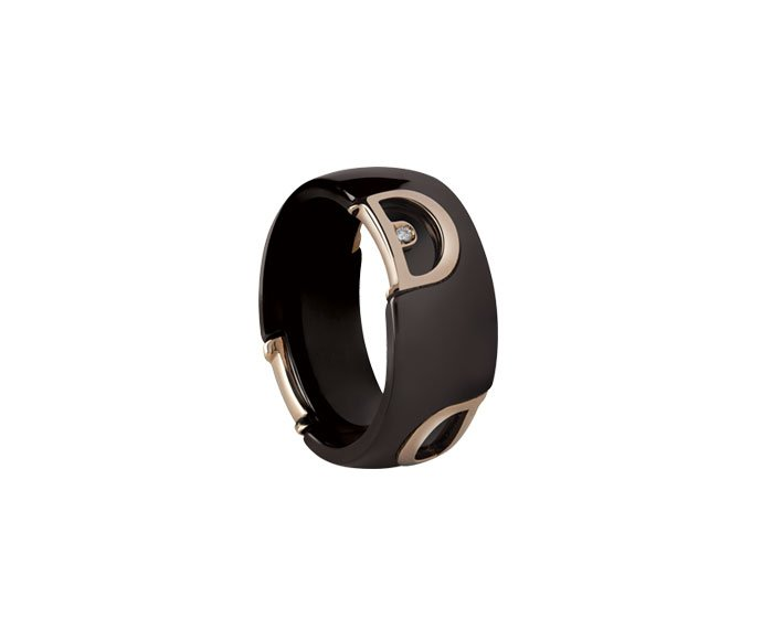 Damiani - Brown ceramic and pink gold with diamond ring