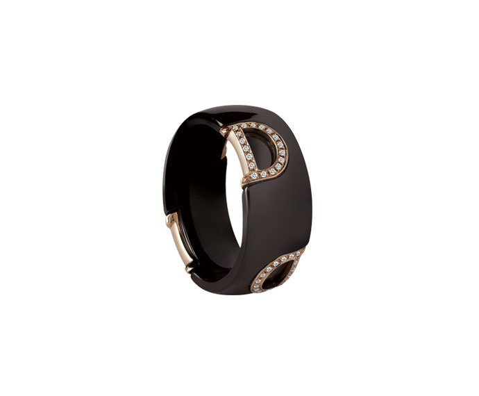 Damiani - Brown ceramic, pink gold and diamonds ring