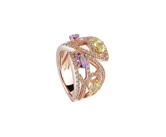 DAMIANI - Pink gold ring with brown diamonds, amethyst and peridot