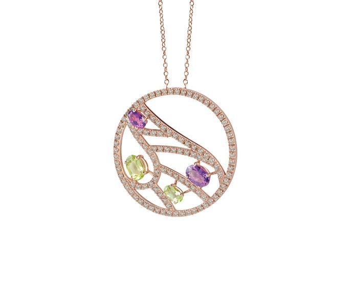 DAMIANI - Pink gold necklace with brown diamonds, amethyst and peridot