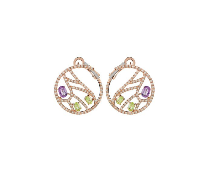 DAMIANI - Pink gold earrings with brown diamonds, amethysts and peridot