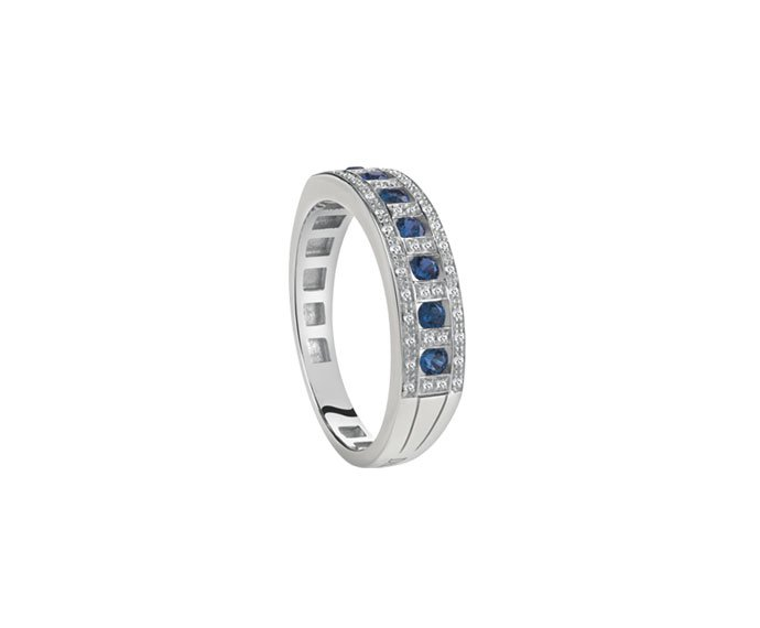 Damiani - White gold and diamonds ring with sapphires