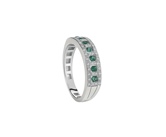 Damiani - White gold and diamonds ring with emeralds