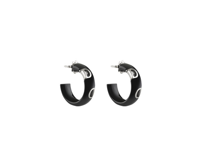 Damiani - Black ceramic and white gold earrings with diamond