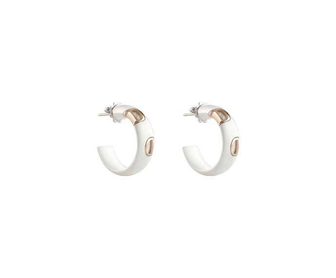 Damiani - White ceramic and pink gold earrings with diamond