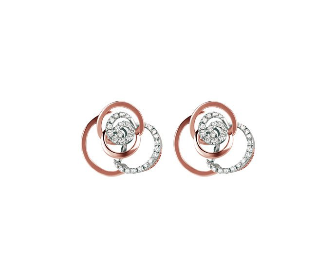 Damiani - White gold and pink gold with diamonds earrings