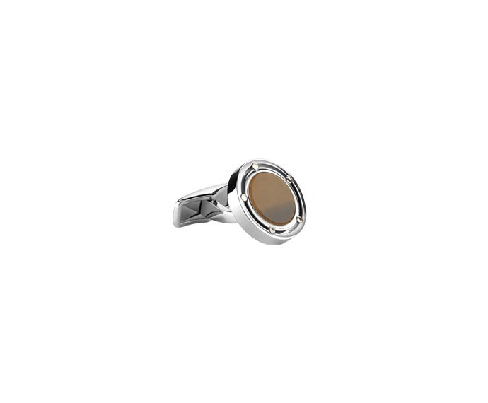 - Pink gold, steel and tiger's eye cufflinks