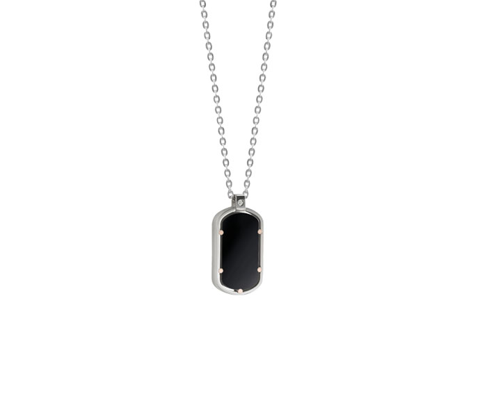 Damiani - Pink gold, steel and onyx necklace