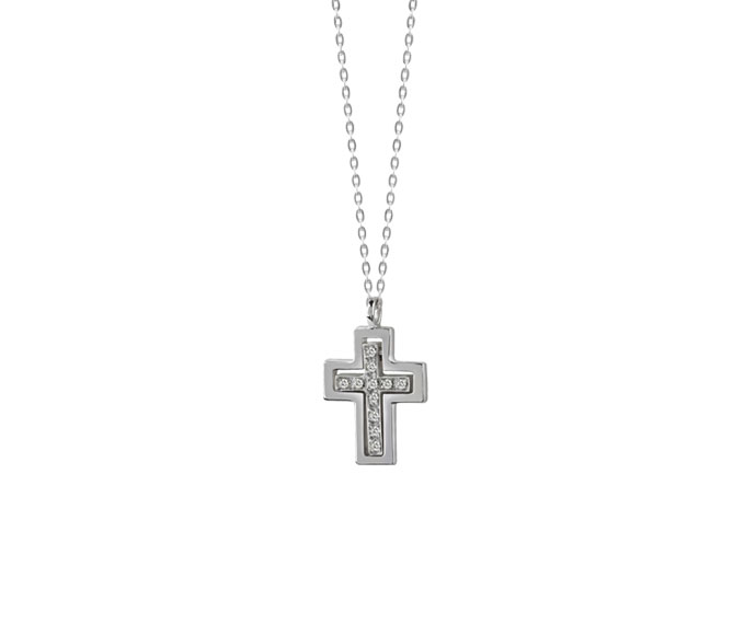 DAMIANI - White gold and diamonds necklace. Cross size: Length 16mm. Width 10mm.