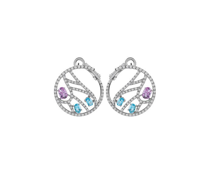 Damiani - White gold earrings with diamonds, topazes and amethysts