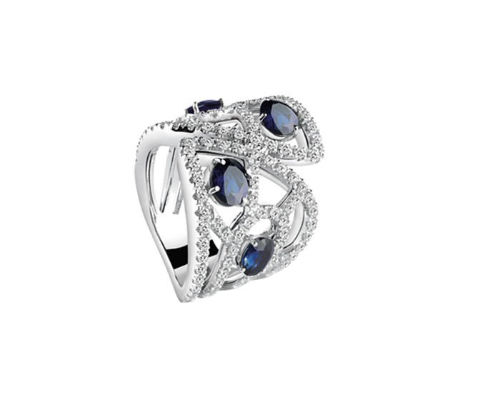 Damiani - White gold ring with diamonds and sapphires