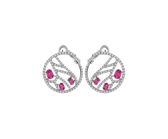 Damiani - White gold earrings with diamonds and rubies